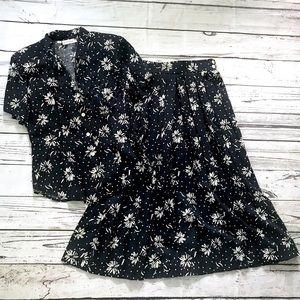 Vtg 80's does 40's navy & white floral skirt set